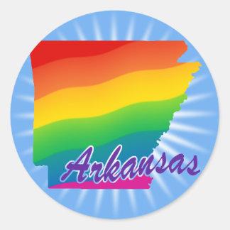 Estado del arco iris de Arkansas Pegatina Redonda