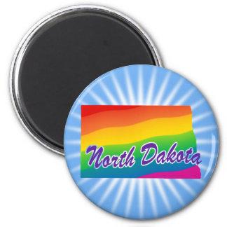 Estado del arco iris de Dakota del Norte Imán Redondo 5 Cm