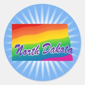Estado del arco iris de Dakota del Norte Pegatina Redonda