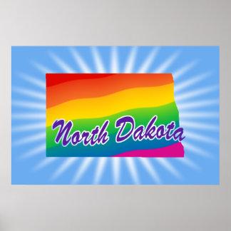 Estado del arco iris de Dakota del Norte Póster