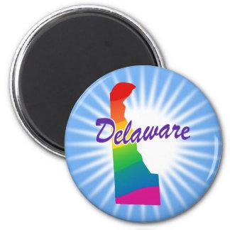 Estado del arco iris de Delaware Imán Redondo 5 Cm