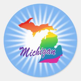 Estado del arco iris de Michigan Etiquetas Redondas