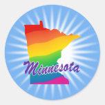 Estado del arco iris de Minnesota Pegatina Redonda