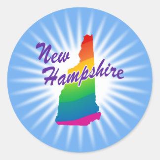 Estado del arco iris de New Hampshire Pegatina Redonda