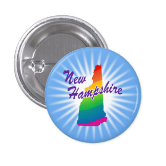 Estado del arco iris de New Hampshire Pin Redondo De 1 Pulgada