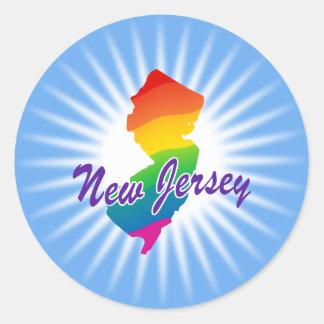 Estado del arco iris de New Jersey Pegatina Redonda