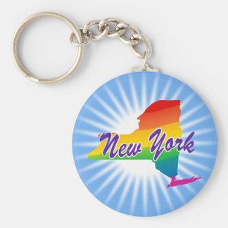 Estado del arco iris de Nueva York Llavero Redondo Tipo Pin