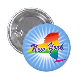 Estado del arco iris de Nueva York Pin Redondo De 1 Pulgada