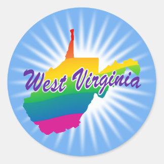 Estado del arco iris de Virginia Occidental Pegatina Redonda