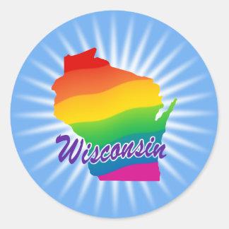 Estado del arco iris de Wisconsin Pegatina Redonda