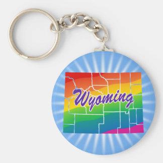 Estado del arco iris de Wyoming Llavero Redondo Tipo Pin