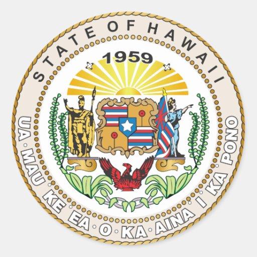 Estado del gran sello de Hawaii Etiqueta Redonda