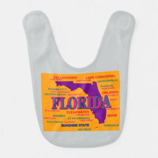 Estado del mapa de la Florida, Miami, Orlando Babero De Bebé