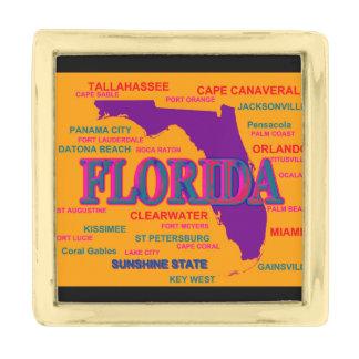 Estado del mapa de la Florida, Miami, Orlando Insignia Dorada