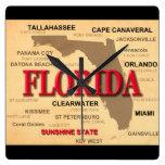 Estado del mapa de la Florida, Miami, Orlando, Key Reloj Cuadrado