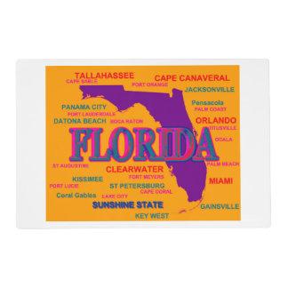 Estado del mapa de la Florida, Miami, Orlando Tapete Individual