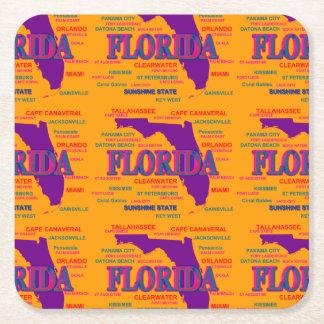 Estado del mapa de la Florida, Miami, Orlando Posavasos De Cartón Cuadrado
