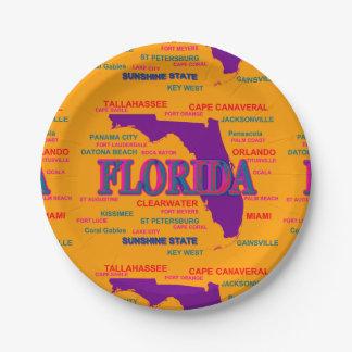 Estado del mapa de la Florida, Miami, Orlando Plato De Papel 17,78 Cm