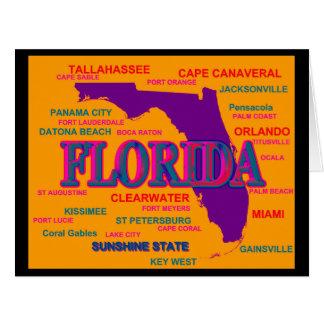 Estado del mapa de la Florida, Miami, Orlando Tarjeta De Felicitación Grande
