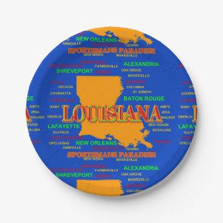 Estado del mapa de Luisiana, New Orleans, Plato De Papel De 7 Pulgadas