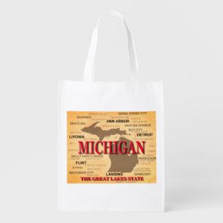 Estado del mapa de Michigan, Detroit, Lansing Bolsas Para La Compra