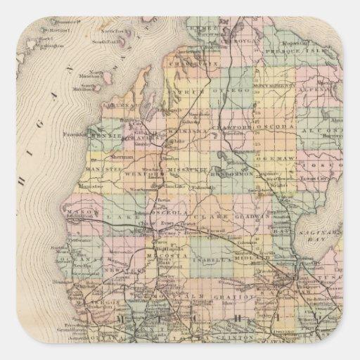 Estado del mapa del atlas de Michigan Pegatina Cuadrada