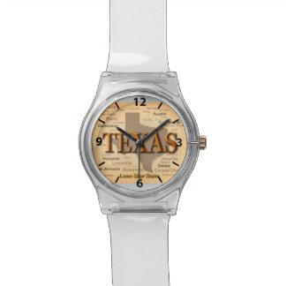 Estado del mapa del vintage de Tejas, Austin, Reloj De Mano