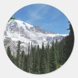 Estado del Mt Ranier Washington de Julia L. Etiqueta Redonda
