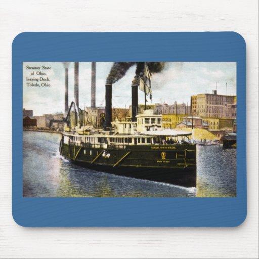 Estado del vapor de Ohio que sale del muelle, Tole Tapete De Raton
