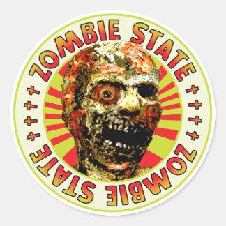 Estado del zombi pegatina redonda