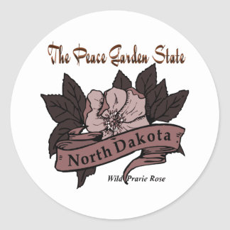 Estado jardín Prarie de la paz de Dakota del Norte Pegatina Redonda