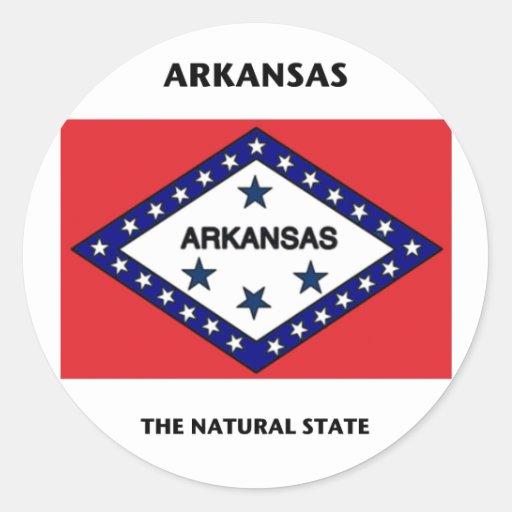 Estado natural de la bandera de Arkansas Pegatina Redonda