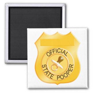 Estado oficial Pooper Imán Cuadrado