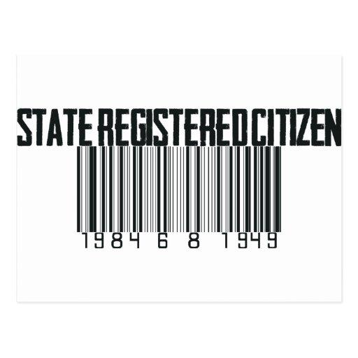 Estado registrado tarjetas postales