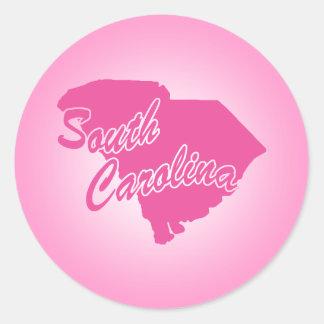 Estado rosado Carolina del Sur Pegatina Redonda