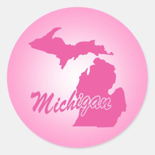 Estado rosado Michigan Pegatina Redonda