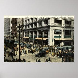 Estado y Madison Sts., Chicago IL, vintage 1922 Impresiones
