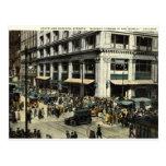 Estado y Madison Sts., Chicago IL, vintage 1922 Tarjetas Postales