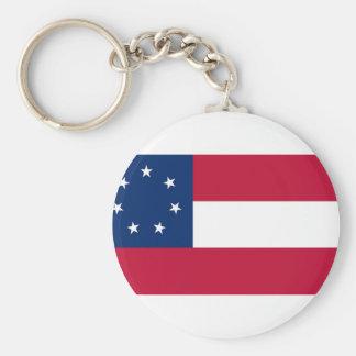 Estados confederados de la bandera de América Llavero Redondo Tipo Pin