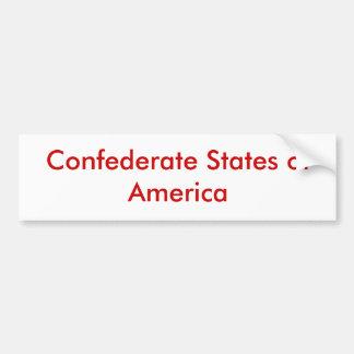 Estados de América confederados Etiqueta De Parachoque