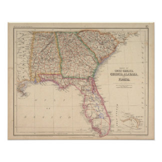 Estados de Carolina del Sur, de Georgia, y de Alab Póster