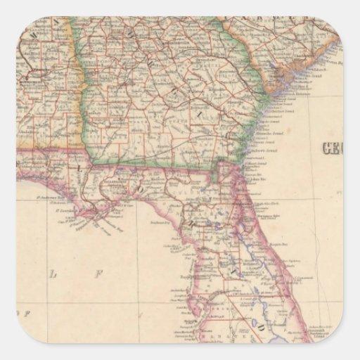Estados de Carolina del Sur, de Georgia, y de Calcomanías Cuadradas Personalizadas