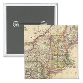 Estados de Maine, New Hampshire, Vermont Pin Cuadrado