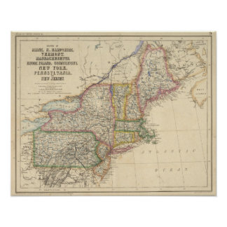 Estados de Maine, New Hampshire, Vermont Póster