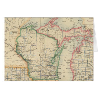 Estados de Michigan, de Wisconsin y de Iowa Tarjeta