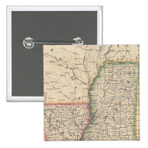 Estados de Mississippi y de Luisiana Pin Cuadrado