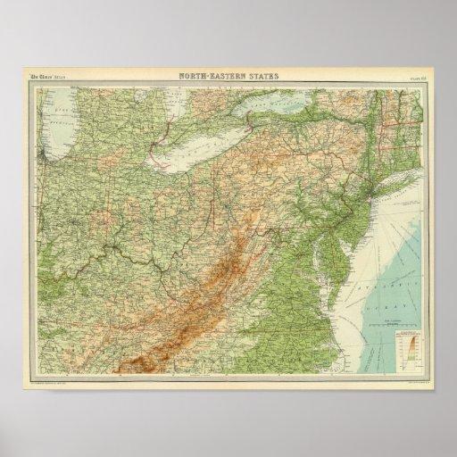 Estados del noreste póster