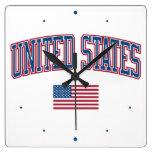 Estados Unidos + Bandera Relojes De Pared