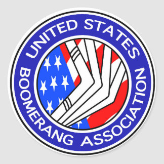 Estados Unidos Boomerang al pegatina redondo de la