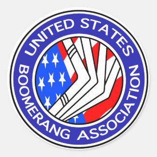 Estados Unidos Boomerang la asociación pequeño Pegatina Redonda